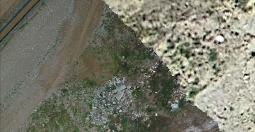 Auflösungsvergleich: Links: Orthofoto (Auflösung 1,3 cm) Rechts: Herkömmliches Luftbild